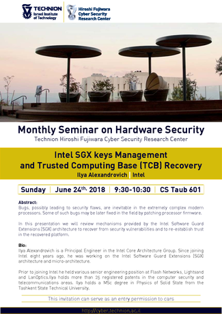 Hardware Security Seminar: Intel SGX keys Management and Trusted Computing Base (TCB) Recovery